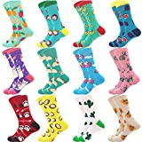 Jielucix Bunte Socken Damen Lustige Baumwolle Farbige Anzugsocken für Frauen 39-42 (12 paare tier, 12)