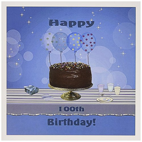 100th Birthday Party with Chocolate Cake, Blue Balloons - Greeting Card, 6 x 6 inches, single (gc_123986_5)