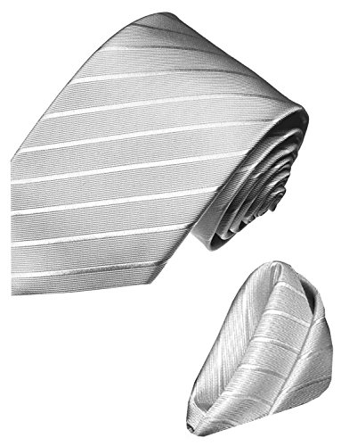 Lorenzo Cana - Marken Set aus 100% Seide : Krawatte mit Einstecktuch - grau silber silbergrau einfarbig uni - 8429402