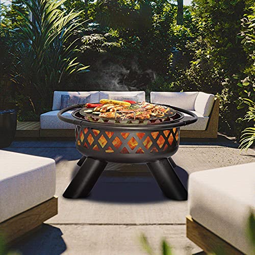 Grill Fire Pit Fire Pit Wood Burning - 37.5in Grill Fire Pit Outdoor Wood Burning Weather Resistant...