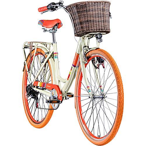 Galano Bella 700c Damenrad 28 Zoll Hollandrad Stadtrad Fahrrad Citybike Damenfahrrad 6 Gang (beige, 48 cm)