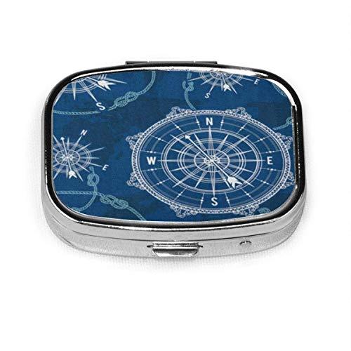 Caja de pastillas cuadrada de moda Bolsa de almacenamiento de medicina Bolsillo Patrón azul Vintage Brújula Mapa del mundo Rosa de los vientos Nudo de cuerda Náutico Retro Marino