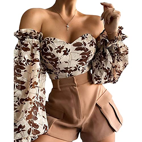 PDYLZWZY Blusa de manga larga para mujer, con hombros descubiertos, con volantes, con estampado de flores, corsé, beige, M