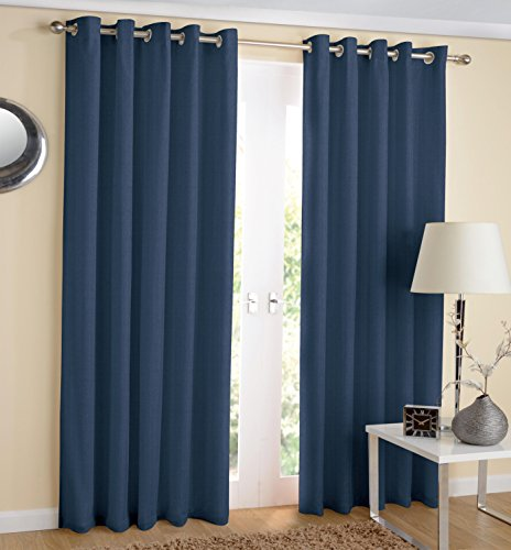 Hachette Thermal Blackout Curtains Eyelet Ring Top Including Pair of Tiebacks (Navy Blue, 46' x 54')