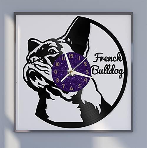XDG Orologio da parete con disco in vinile a tema bulldog francese, orologio da parete adesivi murali a batteria per cucina Casa arredamento casa(P)