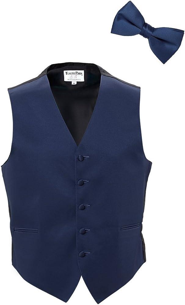 EZ Tuxedo Navy Satin Vest and Bow Tie and Pocket Square (Medium)