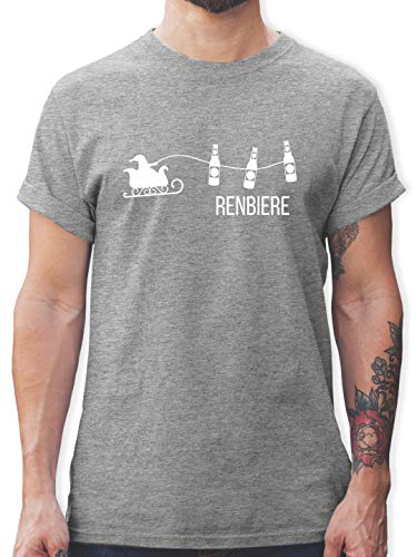 Typisch Männer - Renbiere - L - Grau meliert - Pinguin Tshirt Herren - L190 - Tshirt Herren und Männer T-Shirts