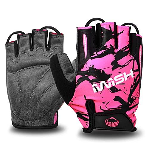 iwish Fahrradhandschuhe für Kinder, dünn, halbe Finger, für Outdoor-Sport, Fahrradfahren, Handschuhe (Pink, Medium)