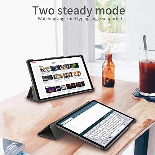 EasyAcc Hülle Kompatibel mit Lenovo Tab M10 FHD Plus (2nd Gen) 10.3 Zoll mit Panzerglas-Ultra Dünn Case mit Standfunktion Auto Sleep/Wake Up Funktion Slim Schutzhülle mit Lenovo Tab M10 Plus Schwarz