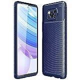 ALAMO Ultra Silicone Hülle für Xiaomi Poco X3 Pro, Kohle Faser StoßFest Bumper Handyhülle - Blau