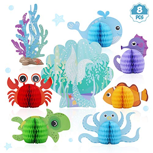 Distaratie Mermaid Centerpieces - Under The Sea Honeycomb Party Supplies - Ocean Themed Birthday Decorations for Baby Shower Wedding Pool Party 8pcs