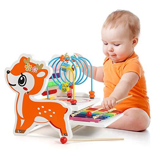 BeebeeRun Xylophon Kinder Musikinstrumente & Abakus & Holz Motorikschleife,3In1 Holzspielzeug Geschenk geeignet für 2-5 Jahre alte Kinder