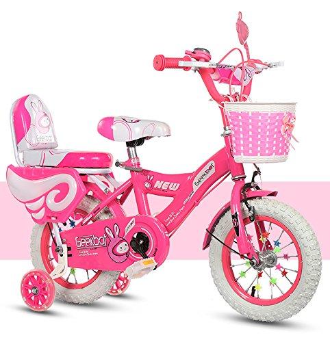 GEEKBOT Vélo Enfant Fille 14 Pouces - Velo Enfant de 4-9 Ans - Pneu Gonflable -siège Comfortable - Petit pagné - vélo Princesse Pneu Blanc - Protection de sécurité Offerte