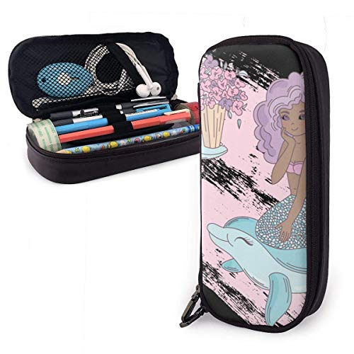 Pencil Case Pen Bag Cartoon Mermail Riding A Whale with Flowers Pencil Case, Large Capacity Pen Case Pencil Bag Stationery Pouch Pencil Holder Pouch with Big Compartments