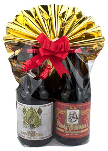 Geschenkeset 2er Preussen-Bier in Folie und Schleife verpackt als Geschenk Teil 1 (mit Geschenkfolie und Schleife Teil 2)