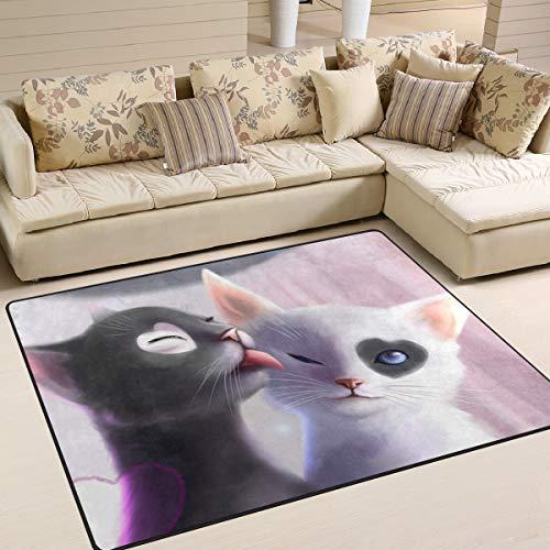 XiangHeFu Teppiche mit Katzenmotiv, 150 x 122 cm, personalisierbar, weiche Teppichmatte für Wohnzimmer, Esszimmer, Schlafzimmer, Heimdekoration, Gesponnenes Polyester, Image 219, 63x48 Inches