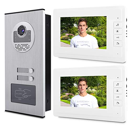 garsent Sistema de intercomunicación con Cable y videoportero Inteligente, 7'HD LCD-Waterproof-Two-Way Conversation - Infrared Night Vision - 2 * Monitor para Interiores (100-240v EU)