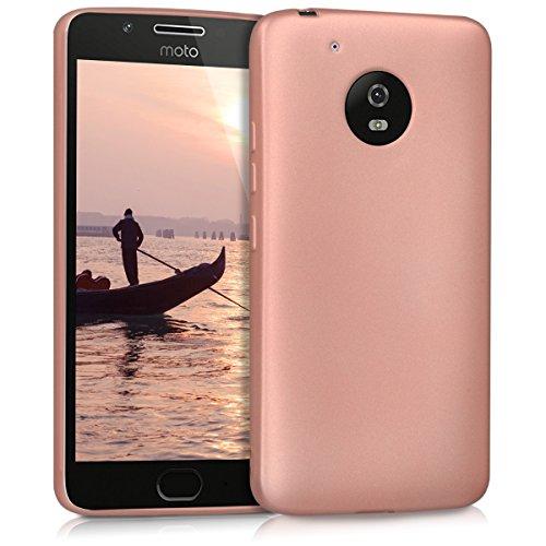 kwmobile Funda Compatible con Motorola Moto G5 - Carcasa móvil de Silicona - Protector Trasero en Oro Rosa Metalizado