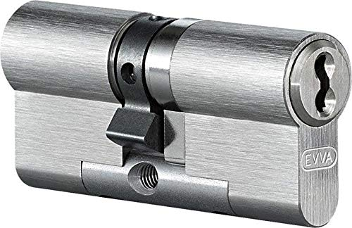EVVA 4KS Doppelzylinder mit 3 Schlüssel + Sicherungskarte, Hochsicherheits-Zylinderschloss, einzelschließend oder gleichschließend, Schließanlage, Türschloss, Länge A:27 mm I:46 mm