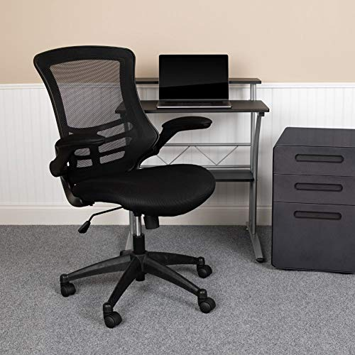 Flash Furniture Mid-Back Black Mesh Swivel Ergonomic Task Office Chair with Flip-Up Arms, BIFMA Certified