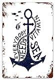 DECISAIYA Vendimia Cartel de Chapa metálica Dibujado a Mano Todo el Mundo Necesita Vitamina Cita del mar Silueta de pez Monocromo Placa Póster,Decoraciones de de Pared de Hierro Retro 20x30cm