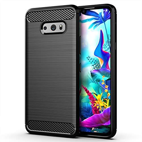 betterfon | LG G8X ThinQ Hülle Carbon Erscheinungsbild Outdoor Stoßfeste Handy Tasche Hybrid Hülle Schutzhülle TPU Silikon Cover Bumper für LG G8X ThinQ Schwarz