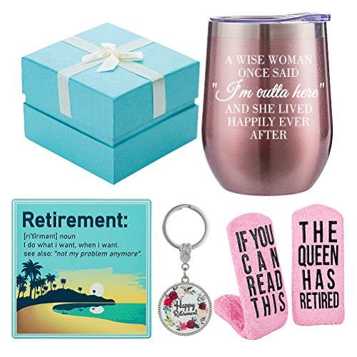 Retirement Gifts for Women 2021 - Funny Wine Gift Basket for Retiring Friends, Boss, Coworkers, Teachers, Nurses, Mom, Grandma - Humorous Retired Wine Tumbler, Socks, Coaster, Keychain