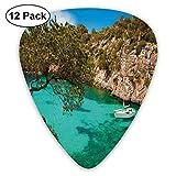 Púas de guitarra Pequeño yate flotando en el mar Mallorca España Colinas Árboles forestales Vista panorámica, Bajo eléctrico Guitarras acústicas-12 Pack