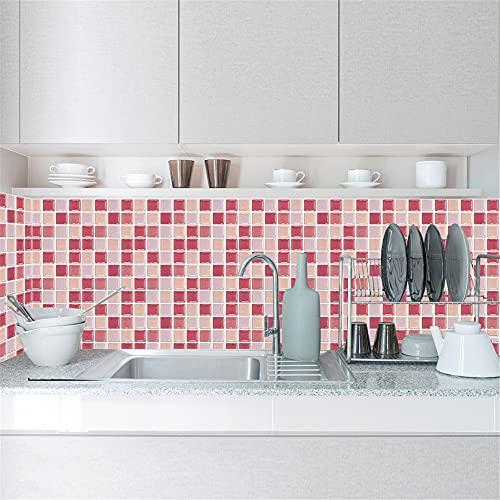 HQL 10 Piezas de Papel Tapiz extraíble, Pegatinas Autoadhesivas para Azulejos, decoración del hogar de Pared de Mosaico 3D, Pegatina de Pared extraíble DIY, para Cocina, baño