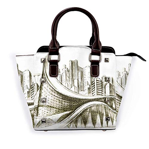 City Ferris Wheel Girl Handbags Purses Totes Leather Shoulder Bags Top Satchel Rivet Womens for Work Shopping