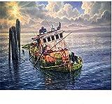 Pintura al óleo de bricolaje Barco viejo en el mar Pintura por números Para lienzo niños adultos decoración set de regalo pintura acrílica 40x50cm (sin marco)