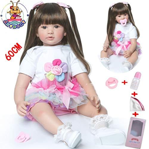Antboat 24 Pulgadas 60cm Muñecas Reborn Bebé Niña Silicona Suave Cuerpo Completo Realista Juguetes para Bebés Recién Nacidos Boca Magnética Reborn Doll