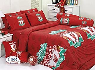 Liverpool Football Club Bed Fitted Sheet Set (Twin, LI002) 3 Pieces (1 Bed Fitted Sheet, 1 Standard Pillow Case and 1 Standard Bolster Case)