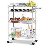 kingrack Carrito de servicio pesado con ruedas, carrito de servicio, carrito de cocina, estante de alambre de almacenamiento de 4 niveles, organizador de altura ajustable