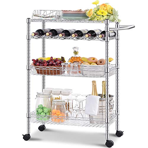 Kingrack - Carrello da portata, carrello da cucina, carrello a 4 ripiani con supporto per bevande, altezza regolabile, con ruote, scaffale organizer, per casa, ristorante e bar