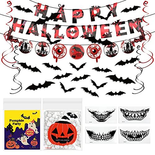 PBKDD 3 en 1 Kit de Halloween Decoracion Terror, Incluidos 100 Bolsas Chuches Halloween, 4 Tatuajes Temporales Terror Halloween Cara, 1 Kit Banner de Murciélagos Halloween con Letras Happy Halloween