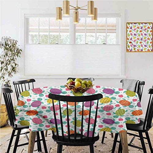 Ronde tafelkleed, Tafelkleden, Aquarium, Funky Kleurrijke Vissen Art Bruiloft/Banket/Tentoonstelling Tafel Cover-Polyester Stof