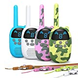 GOCOM Walkie Talkies for Kids, Kids Toys Handheld Child Gift Walky Talky, Two-Way Radio Boys & Girls Toys Age 3-12, for Indoor Outdoor Hiking Adventure Games 4 Pack (Blue+White+MCgreen+MCPink)