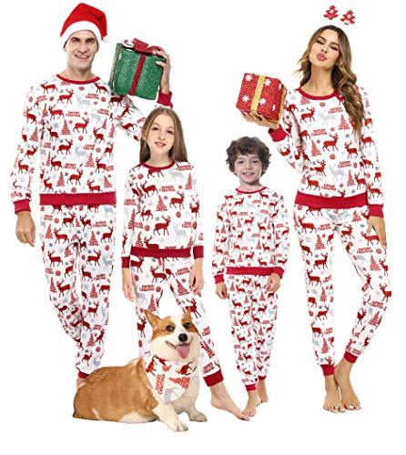 Akalnny Herren Weihnachtspyjama Familie Weihnachten Pyjamas Christmas Pyjama Lang Nachthemd XXL Weiß
