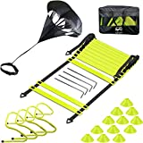 EAZY2HD Speed Agility Training Set- Agility Ladder,12 Cones, 4 Adjustable Hurdles,Parachute, Exercise Workout Equipment Boost Fitness & Increase Quick Footwork, for Soccer,Football,Track Field Train