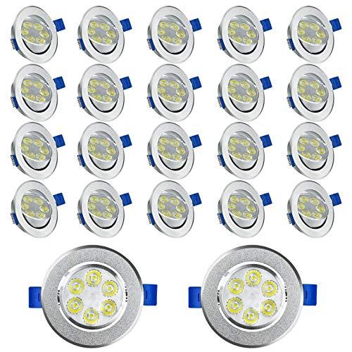 HENGMEI 20X3W Spot Einbauleuchte LED Strahler Deckenstrahler Einbauspot Einbaustrahler Deckeneinbauleuchte Deckenspot (20X3W, Warmweiß)
