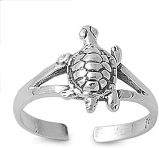 California Toe Rings Women's Sterling Silver Turtle Children's Adjustable Toe Ring