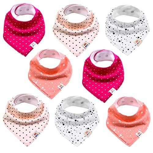Lot de 8 bavoirs triangulaires pour bébé - Unisexe - En coton - Avec boutons-pression réglables - Pour bébé garçon et fille - Ensemble fille