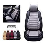 OASIS AUTO Leather&Fabric Car Seat Covers, Faux Leatherette Automotive Vehicle Cushion Cover for Cars SUV Pick-up Truck Universal Fit Set Auto Interior Accessories (OS-005 Front Pairs, Gray)
