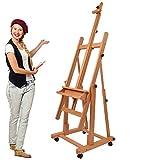 Artina Chevalet Professionnel d'Atelier Verona - En Bois Massif de Hêtre - 4 Roulettes - Double support Robuste – Qualité supérieure - Hauteur: 185cm
