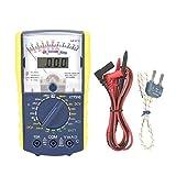 Multímetro Analógico, Multímetro Digital Portátil, Pantalla Dual, Alta Precisión, Protección de Sobrecarga, Medir DCV, Voltaje de CA, Batería, Temperatura, Encendido y Apagado y Diodo, Voltaje de CC