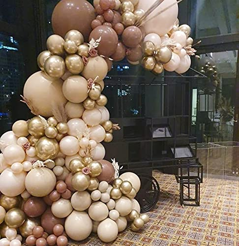 204pcs 10inch /5inch/ 18inch Skin and Coffee Latex Balloon for Birthday Party Decoration Baby Shower Wedding Ceremony Balloon Anniversary Decorations Arch Balloon Tower (coffee)