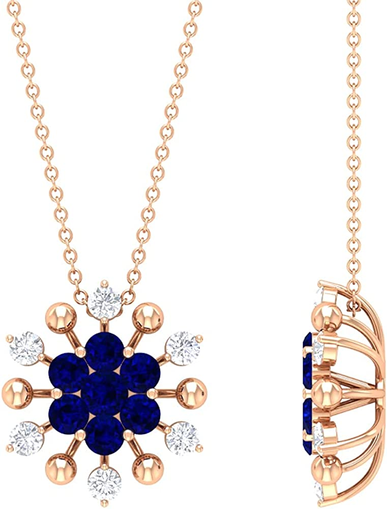 Regular discount 1.50 CT Created Blue Sapphire Floral Pendant Max 57% OFF and Diamond Cluster