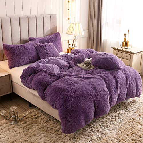 Uhamho Solid Fluffy 1PC Faux Fur Plush Duvet Cover Luxury Shaggy Velvet Bedspread Zipper Closure (Purple, Twin)