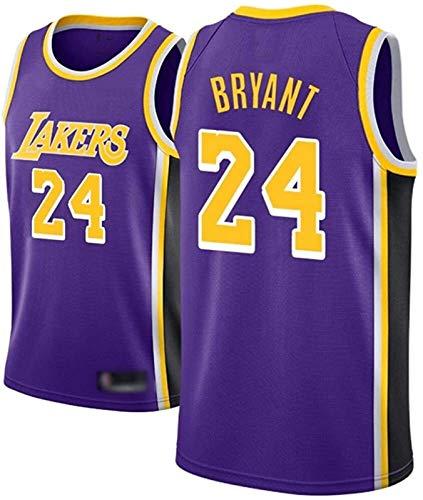 AMJUNM Camiseta para hombre y mujer – Lakers 24# Kobe Bryant Jerseys transpirable bordado baloncesto Swingman Jersey (color: morado A, talla: S)